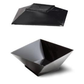 30 Vaschette Glamour con coperchio colore nero 350 cc ALCAS