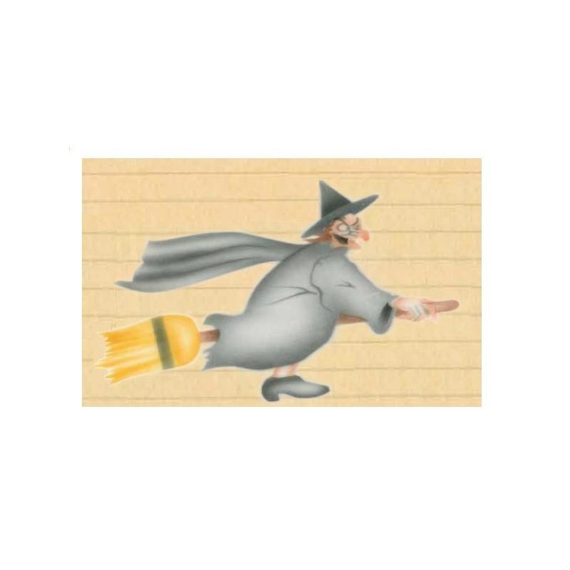 Stencil strega con scopa – Halloween