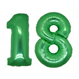 Pallone Mylar numero 18 H. 102 cm verde