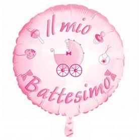 """Pallone Mylar con scritta """"Il mio battesimo"""" colore rosa 22"""""""