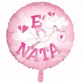 """Pallone Mylar con scritta """"E' nata"""" colore rosa 22"""""""