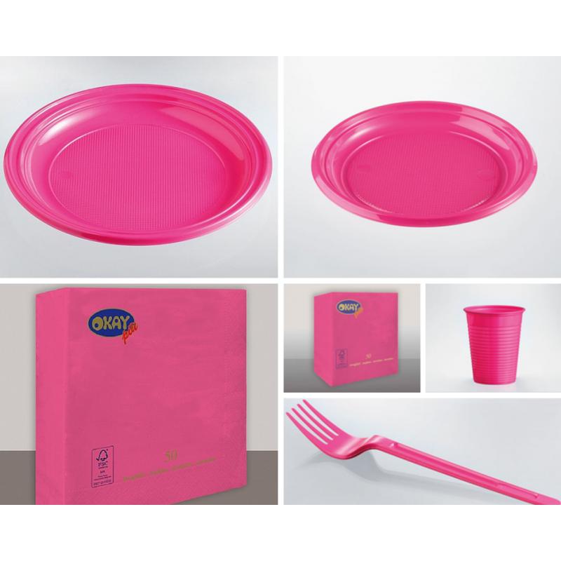 Party Kit piatti, bicchieri, forchette, tovaglioli vari colori
