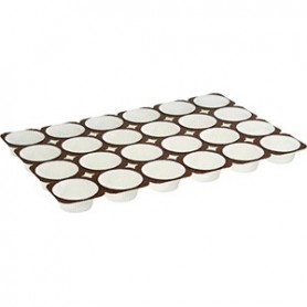 Teglia con 24 pirottini bianchi in cartoncino NOVACART