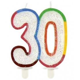 Candela multicolor glitter 30° compleanno