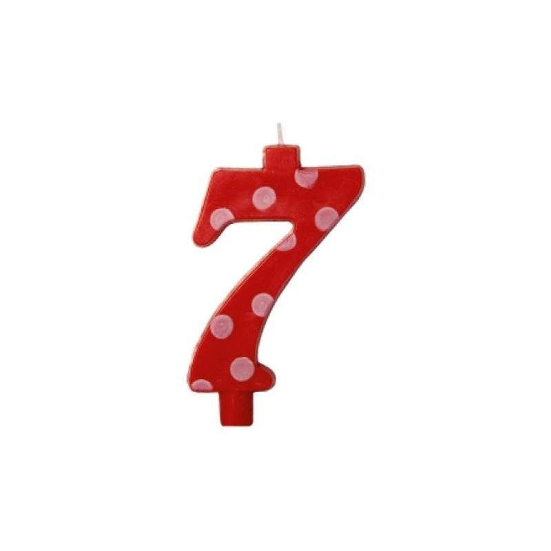 Candela rossa maxi n. 7 a pois