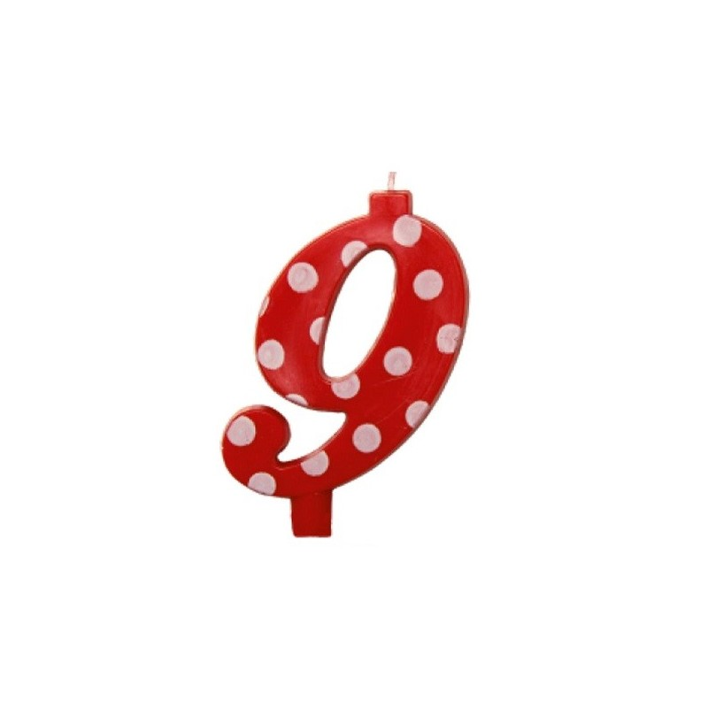 Candela rossa maxi n. 9 a pois
