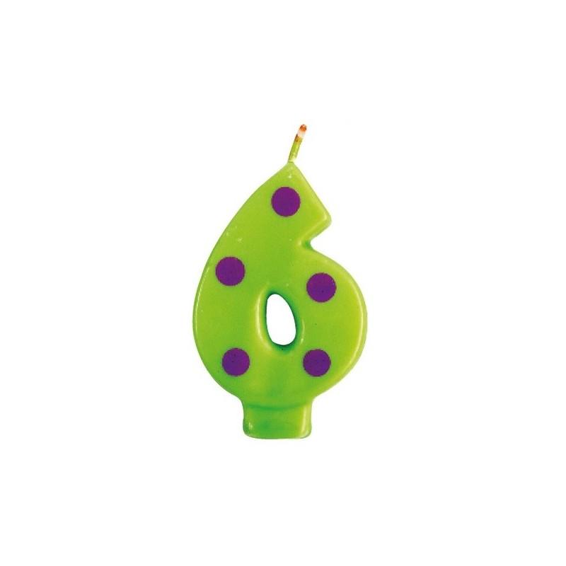 Candela verde n. 6 a pois viola