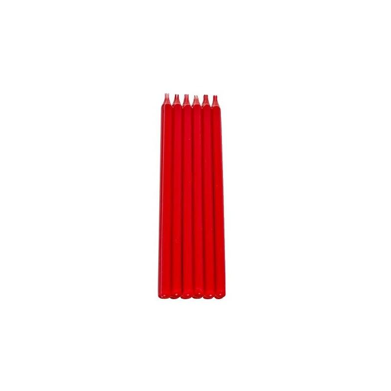 12 Candele mezzo stelo rosse H. 15 cm